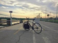 Electron Wheel on our commuter bike along the Ballona Creek Bike Path.