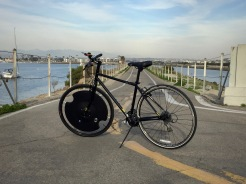 Electron Wheel on our commuter bike at Marina Del Ray.